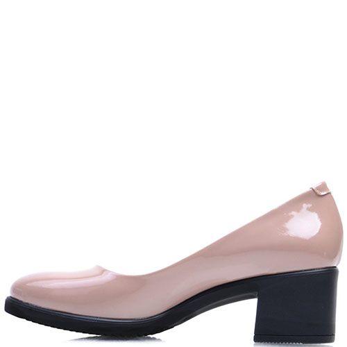 Лаковые туфли-лодочки Prego из кожи пепельно-розового цвета на устойчивом каблуке, фото