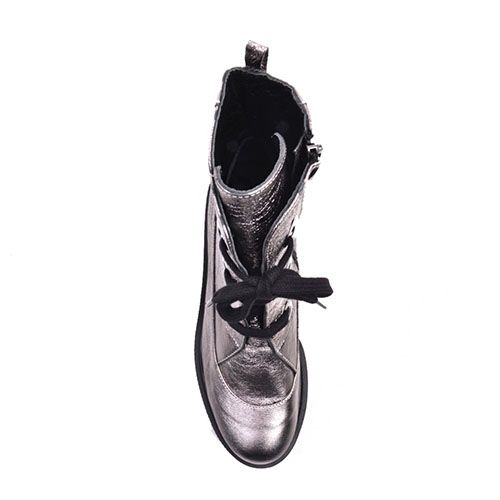Высокие ботинки Prego из кожи серебристого цвета с металлическим блеском, фото