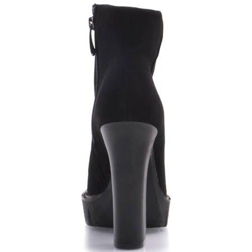 Ботильоны Prego черного цвета замшевые с округлым верхом и узким носком на толстом каблуке, фото