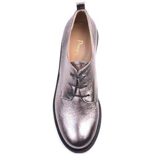 Ботинки Prego с металлическим блеском на тостом каблуке и подошве, фото