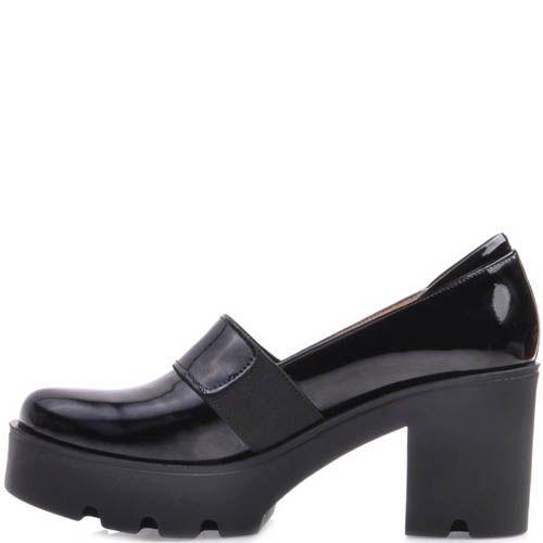 Туфли Prego на устойчивом каблуке и танкетке черного цвета с перемычкой, фото