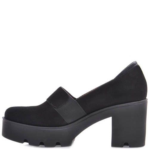 Туфли Prego замшевые на устойчивом каблуке и танкетке черного цвета с перемычкой, фото