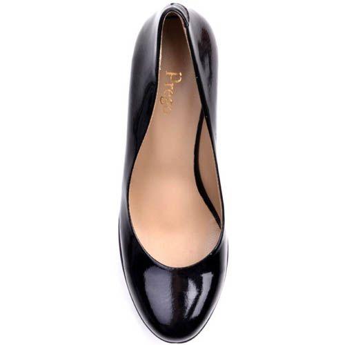 Туфли Prego лаковые черного цвета с высоким толстым каблуком и с высокой танкеткой, фото