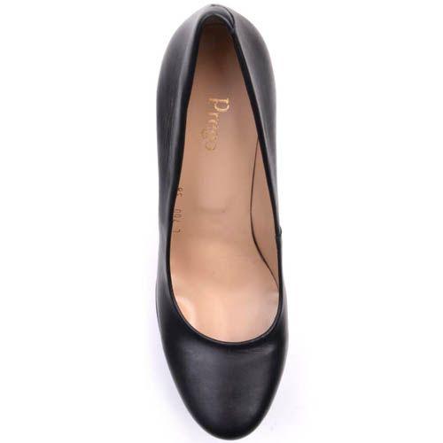 Туфли Prego на высоком каблуке с зубчастой танкеткой черного цвета, фото