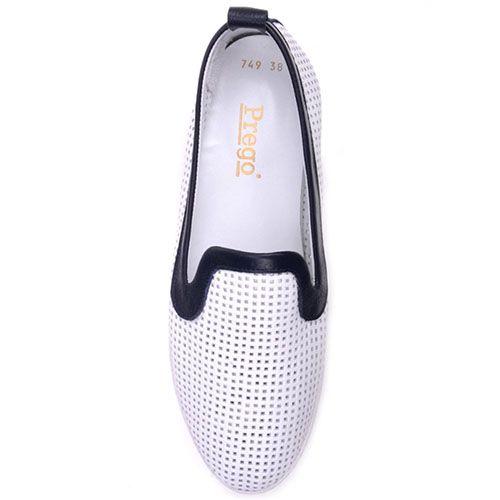 Туфли Prego из белой кожи с перфорацией, фото