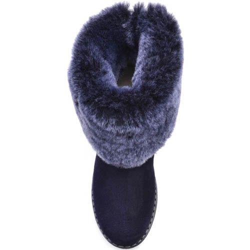 Ботинки Prego зимние замшевые синего цвета с меховым отворотом и зубчастой подошвой, фото