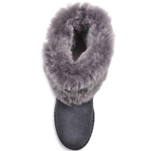 Ботинки Prego зимние замшевые серого цвета с меховым отворотом и зубчастой подошвой, фото