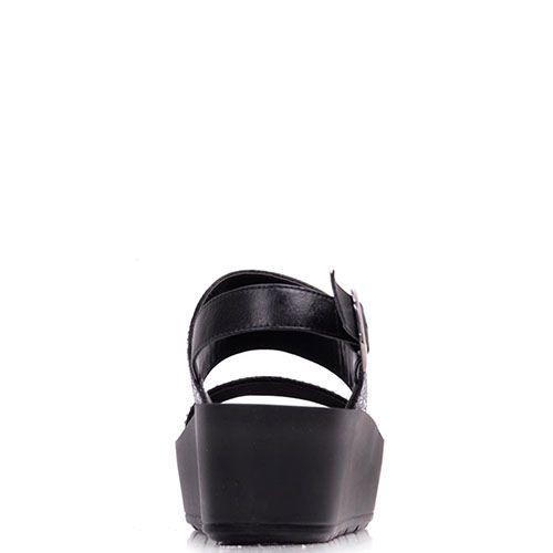 Замшевые босоножки Prego черного цвета украшенные стразами, фото