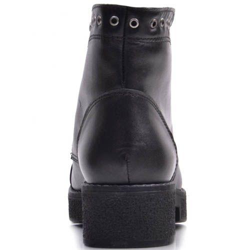 Ботинки Prego кожаные черные с отверстиями для шнурков вдоль всего верха, фото