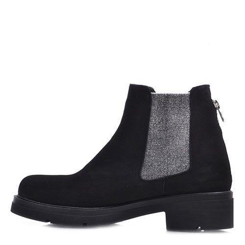Черные ботинки Prego из натуральной замши со вставками-резинками серебристого цвета, фото