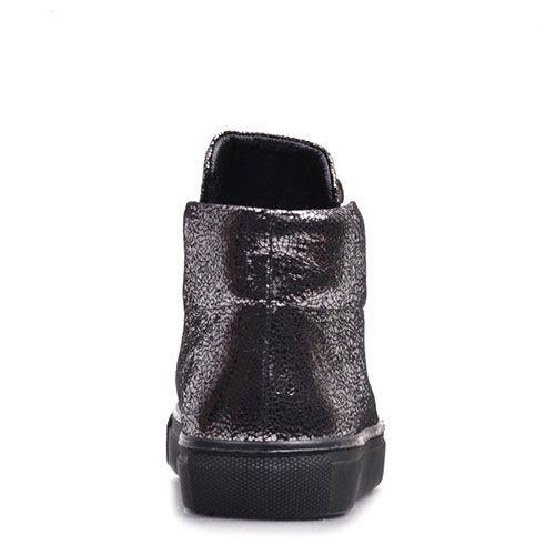 Кожаные слипоны Prego с серебристым принтом Кракелюры, фото