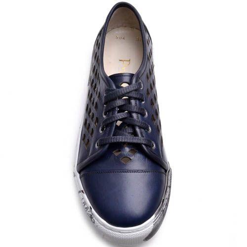Кеды Prego женские кожаные синего цвета на толстой подошве, фото