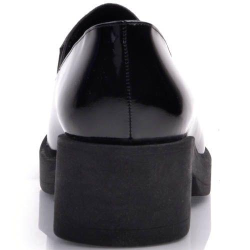 Туфли Prego лаковые черного цвета на устойчивом каблуке, фото