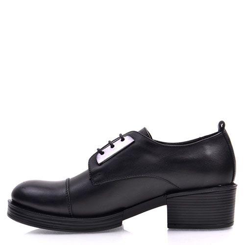 Ботинки Prego из кожи черного цвета с круглым носочком и металлическим декором, фото