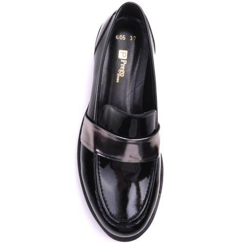 Лоферы Prego лаковые черного цвета с серебристой перемычкой, фото