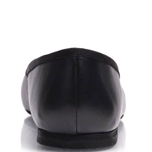 Балетки Prego черного цвета из гладкой кожи с бантиком, фото