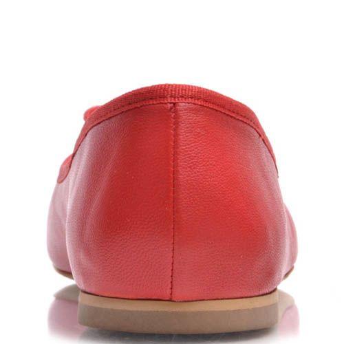 Балетки Prego красного цвета из гладкой кожи с бантиком, фото