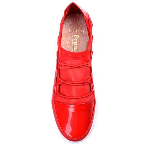 Кеды Prego из натуральной кожи в сочетании с текстилем красного цвета, фото