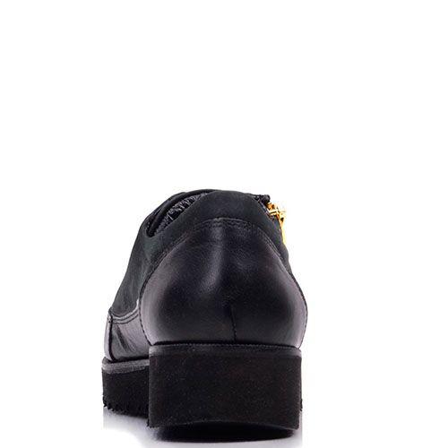 Туфли Prego из кожи черного цвета со стразами на носочке, фото