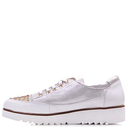 Туфли Prego из натуральной кожи серебристого цвета с золотистыми стразами, фото