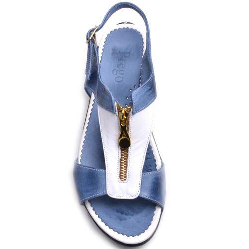 Сандалии Prego кожаные синего цвета с золотистой молнией, фото