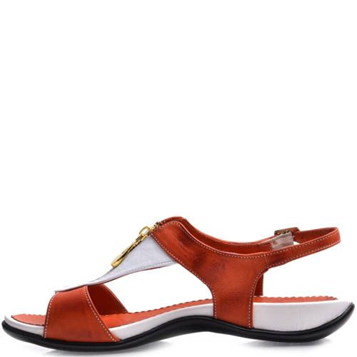 Сандалии Prego кожаные красного цвета с золотистой молнией, фото