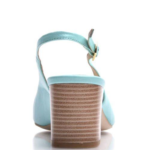 Босоножки Prego на толстом каблуке голубого цвета, фото