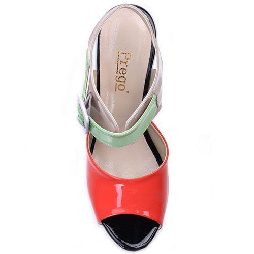 Лаковые босоножки Prego из натуральной разноцветной кожи, фото
