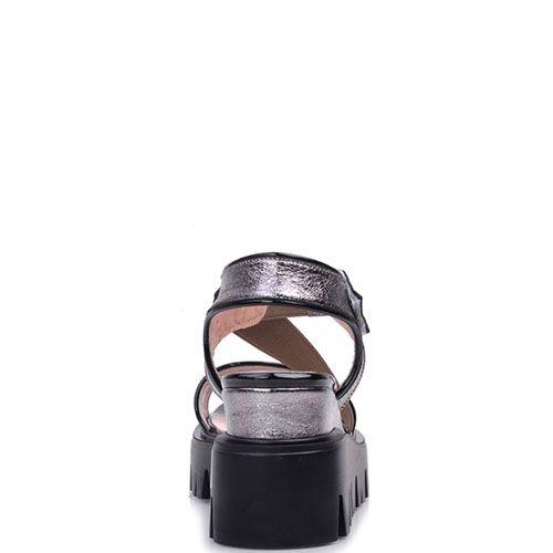 Сандалии Prego из кожи серебристого цвета на рельефной подошве, фото