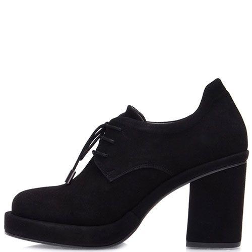 Замшевые ботильоны Prego черного цвета на устойчивом каблуке с круглым носочком, фото