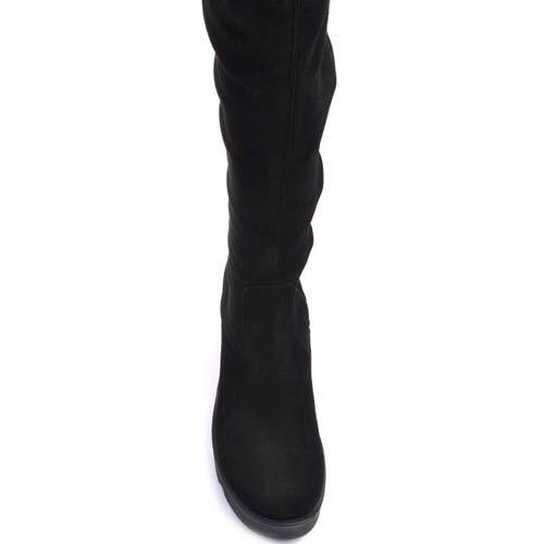 Сапоги Prego осенние замшевые черного цвета на толстом каблуке с рельефной танкеткой и обтягивающим голенищем, фото