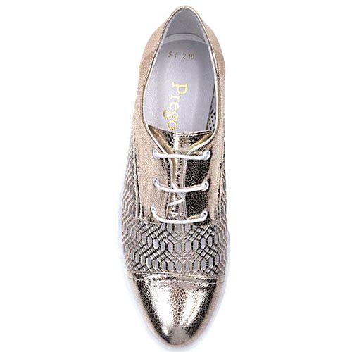 Туфли Prego из кожи золотистого цвета на белой подошве, фото
