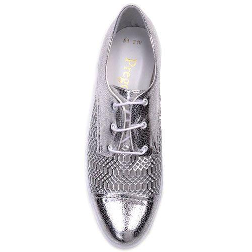 Туфли Prego из кожи серебристого цвета с узорчатой перфорацией, фото