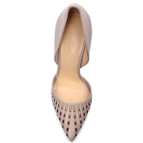 Бежевые туфли Prego из натуральной кожи с перфорированным носочком на шпильке, фото