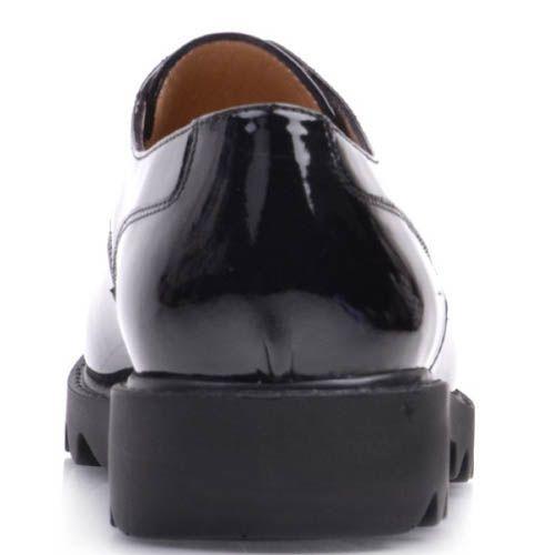 Туфли Prego лаковые черного цвета с подошвой в виде острых рельефов, фото