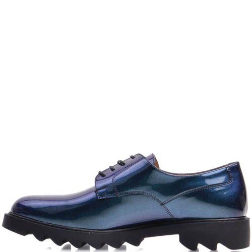 Туфли Prego лаковые синего цвета с подошвой в виде острых рельефов, фото