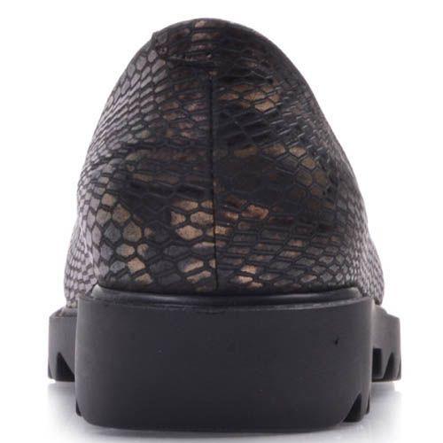 Балетки Prego коричневого цвета под кожу змеи с рельефной подошвой, фото