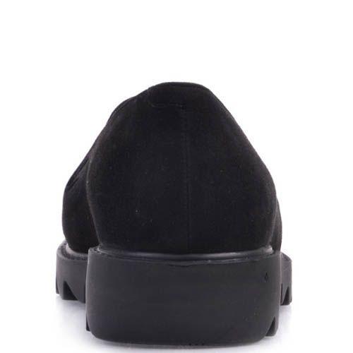 Лоферы Prego замшевые черного цвета с кисточками и с рельефной подошвой, фото
