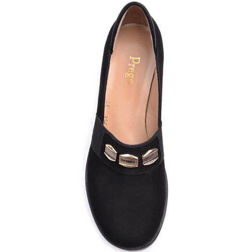 Туфли Prego замшевые на толстом каблуке с перемычкой украшенной золотистыми вставками, фото