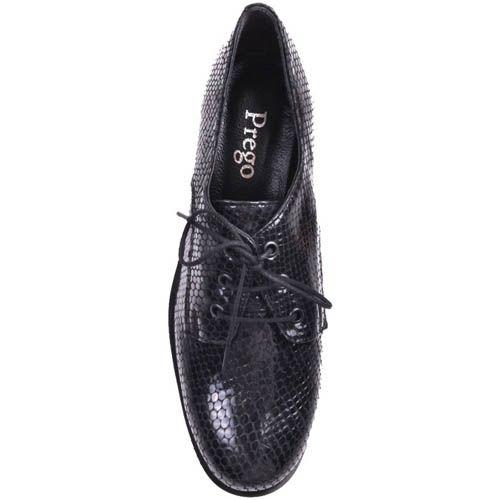 Ботинки Prego темно-синего цвета на толстом каблуке лаковые под кожу змеи, фото