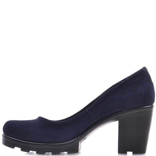 Туфли Prego замшевые темно-синего цвета с устойчивым каблуком и рельефной подошвой, фото