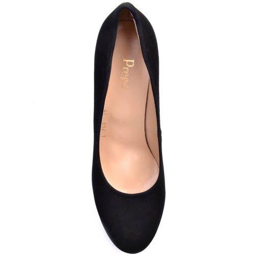 Туфли Prego замшевые черного цвета с высоким толстым каблуком и с высокой танкеткой в виде острых рельефов, фото