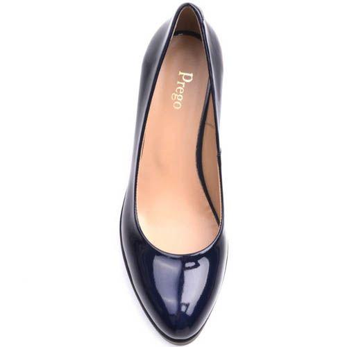 Туфли Prego лаковые синего цвета с высокой рельефной танкеткой, фото
