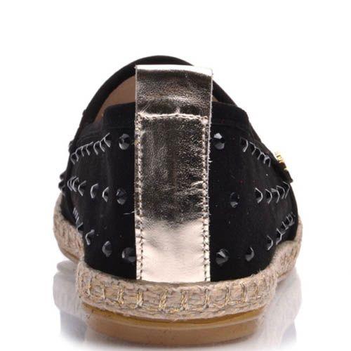 Эспадрильи Prego замшевые черные к бусинами, фото