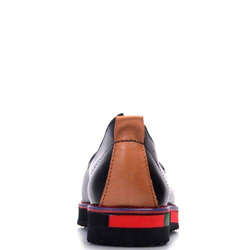 Кожаные слипоны Prego черного цвета на разноцветной подошве, фото