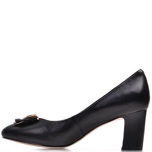 Туфли Prego из кожи черного цвета на среднем каблуке, фото