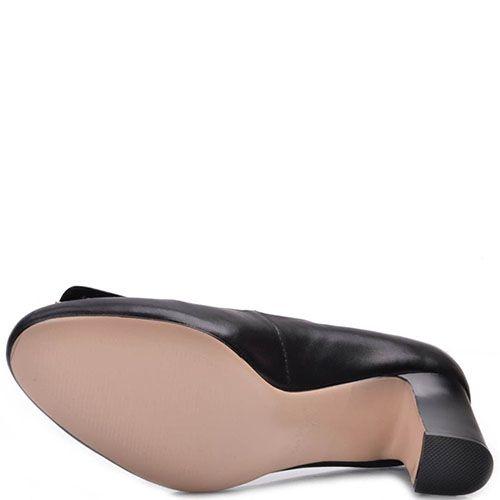Туфли Prego из натуральной кожи черного цвета на среднем каблуке, фото