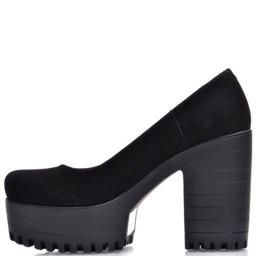 Туфли Prego замшевые черные на толстом каблуке и танкетке, фото