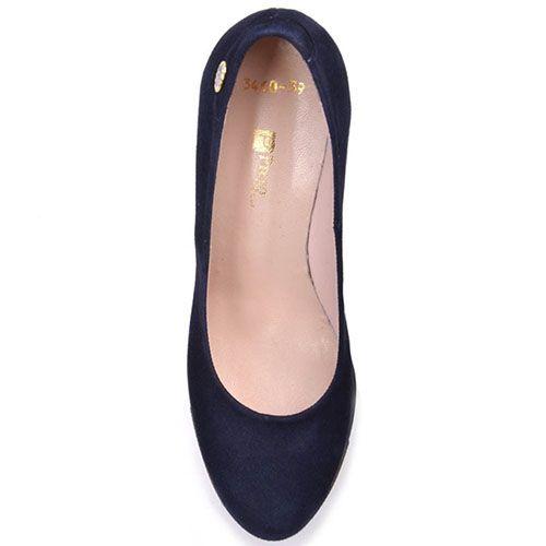 Туфли Prego из натуральной замши насыщено-синего цвета на высоком устойчивом каблуке, фото