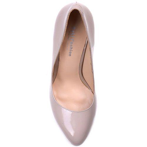 Лаковые туфли Prego из натуральной бежевой кожи на высоком устойчивом каблуке, фото